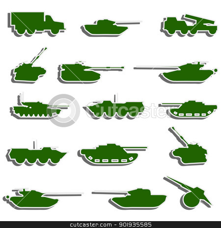 Vector Tanks, artillery and vehicles from second world war  stic stock photo, Vector Tanks, artillery and vehicles from second world war  stickers by aarrows
