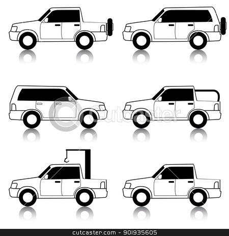 Set of vector icons - transportation symbols. Black on white. Ca stock photo, Set of vector icons - transportation symbols. Black on white. Cars, vehicles. Car body. by aarrows