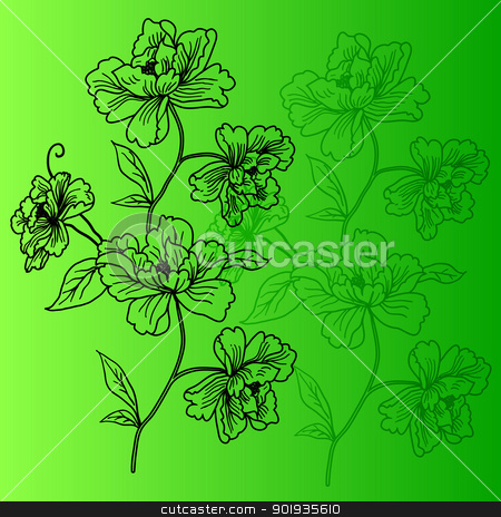 eps10 hand drawn background with a fantasy flower stock photo, eps10 hand drawn background with a fantasy flower by aarrows