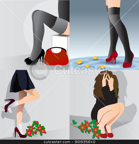 Set  beautiful girls  stock photo, Set  beautiful girls in various poses and situations. Vector illustration. by aarrows