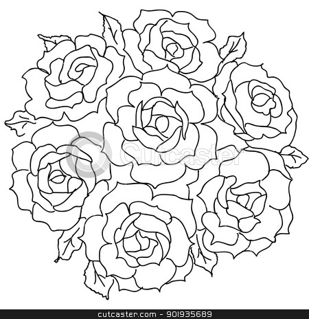 Large bouquet of roses. vector stock photo, Large bouquet of roses. vector by aarrows