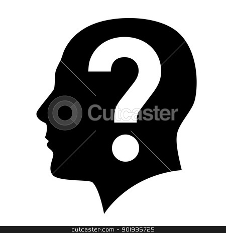 Human head stock photo, Human head with question mark symbol on white by dvarg