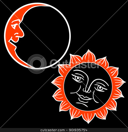 Vector illustration of Moon and Sun with faces  stock photo, Vector illustration of Moon and Sun with faces  by aarrows