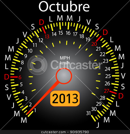 2013 year calendar speedometer car in Spanish. October stock photo, 2013 year calendar speedometer car in Spanish. October by aarrows