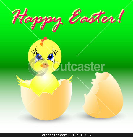 easter holiday illustration with chicken stock photo, easter holiday illustration with chicken Sits in egg by aarrows
