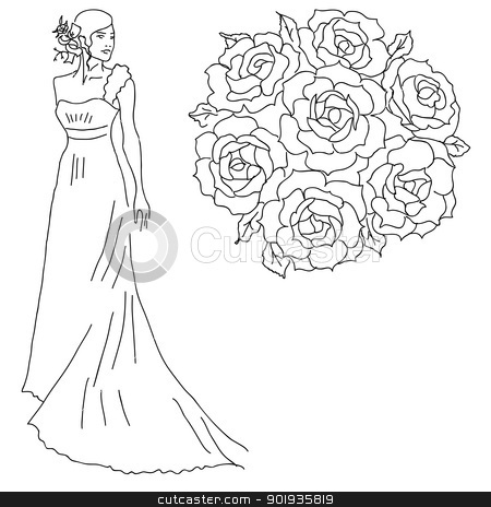 Silhouette of a bride with a bouquet of flowers. stock photo, Silhouette of a bride with a bouquet of flowers. by aarrows