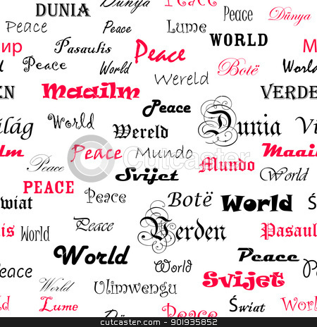Peace . Seamless wallpaper with the word peace in different lang stock photo, Peace . Seamless wallpaper with the word peace in different languages. by aarrows