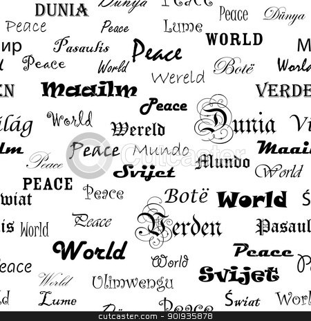 Peace . Seamless wallpaper with the word peace  stock photo, Peace . Seamless wallpaper with the word peace in different languages. by aarrows
