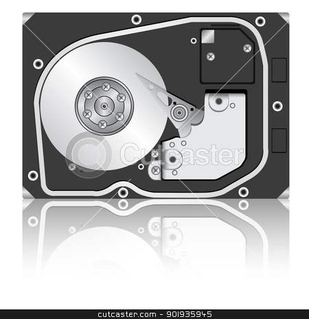 Computer hard disk drive.  stock photo, Computer hard disk drive. Vector illustration. by aarrows