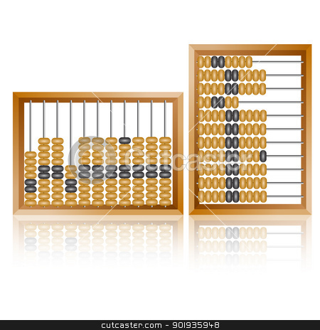 old wooden abacus close up stock photo, Accounting abacus for financial calculations lies on a white background by aarrows