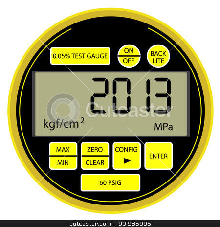 2013 New Year modern digital gas manometer  stock photo, 2013 New Year modern digital gas manometer isolated on white background by aarrows