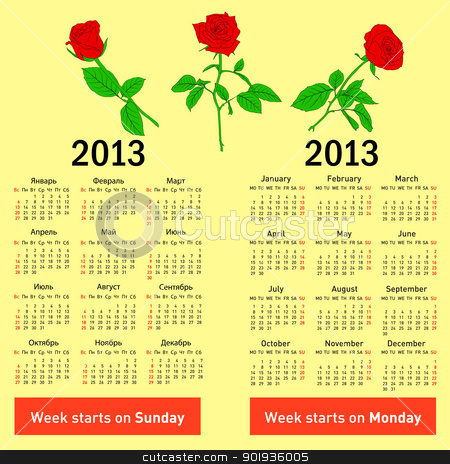 Stylish  calendar with flowers  for 2013. In Russian and English stock photo, Stylish  calendar with flowers  for 2013. In Russian and English. by aarrows