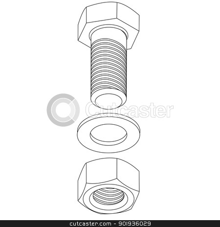 Stainless steel bolt and nut.  illustration. stock photo, Stainless steel bolt and nut.  illustration. by aarrows
