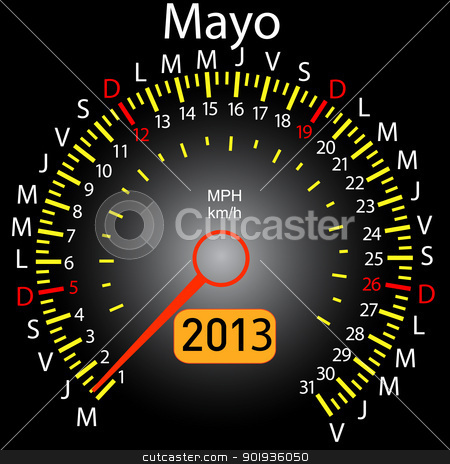 2013 year calendar speedometer car in Spanish. May stock photo, 2013 year calendar speedometer car in Spanish. May by aarrows