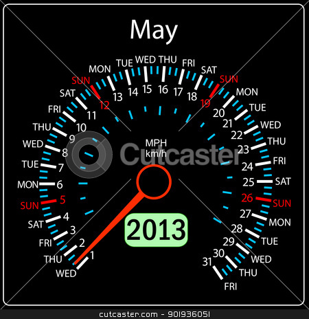 2013 year calendar speedometer car in vector. May. stock photo, 2013 year calendar speedometer car in vector. May. by aarrows
