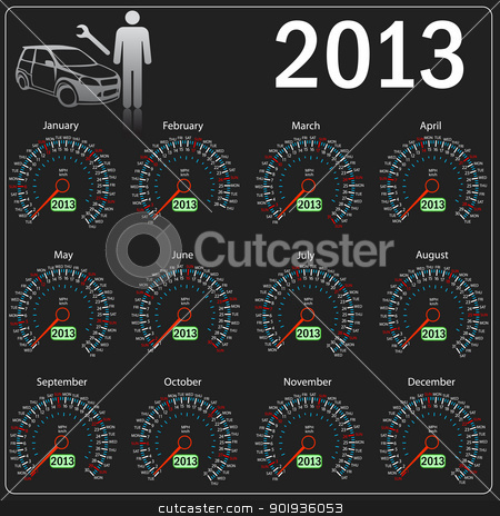 2013 year alendar speedometer car in .  stock photo, 2013 year alendar speedometer car in .  by aarrows
