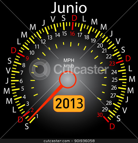 2013 year calendar speedometer car in Spanish. June stock photo, 2013 year calendar speedometer car in Spanish. June by aarrows