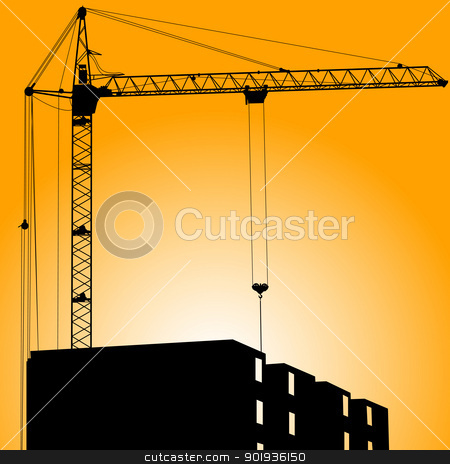 Silhouette of crane on a sunset on a building stock photo, Silhouette of crane on a sunset on a building by aarrows
