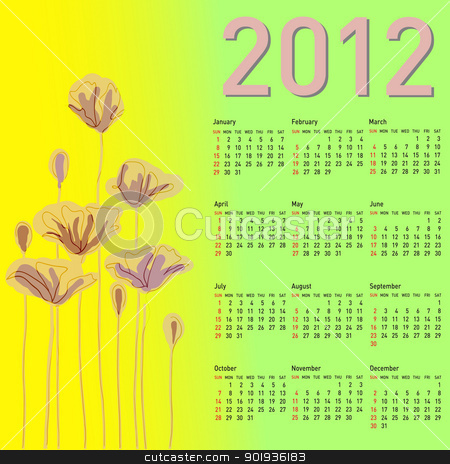 Stylish calendar with flowers for 2012.  stock photo, Stylish calendar with flowers for 2012. Week starts on Sunday. by aarrows