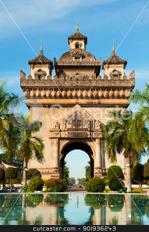 Patuxai Monument, Vientiane, Laos. stock photo, Patuxai arch monument, Vientiane, the Capital of Laos. by Pablo Caridad