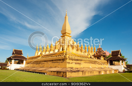 Pha That Luang monument, Vientiane, Laos. stock photo, Pha That Luang stupa in  Vientiane, Laos. The most important national monument in Laos. by Pablo Caridad