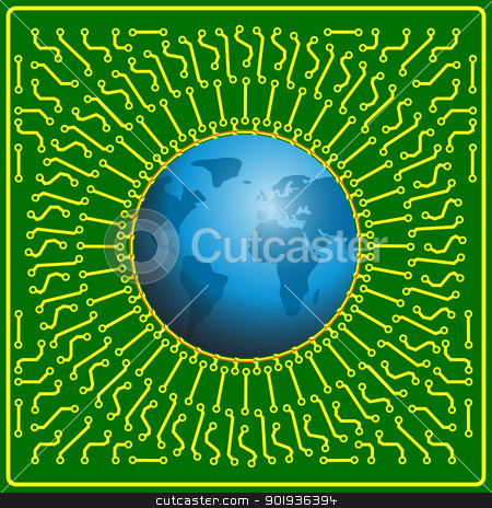 Motherboard globe  background for technology concept design stock photo, Motherboard globe  background for technology concept design by aarrows