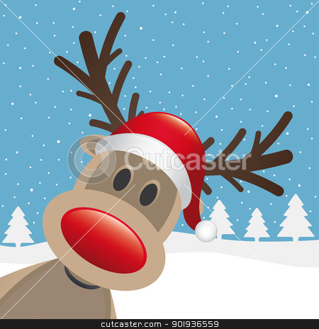 rudolph reindeer red nose hat stock photo, rudolph reindeer red nose santa claus hat by d3images