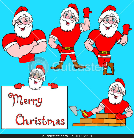A set of pictures muscular Santa Claus  stock photo, A set of pictures muscular Santa Claus  by aarrows