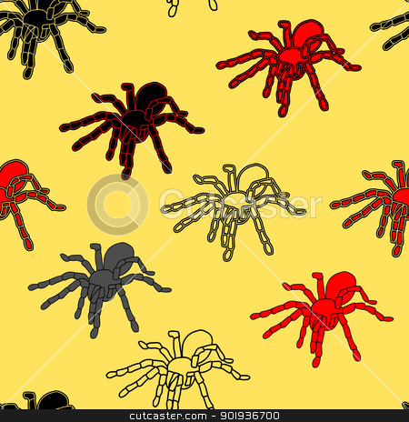 Halloween seamless pattern with black spiders  stock photo, Halloween seamless pattern with black spiders and a web (can be repeated and scaled in any size), vector illustration by aarrows