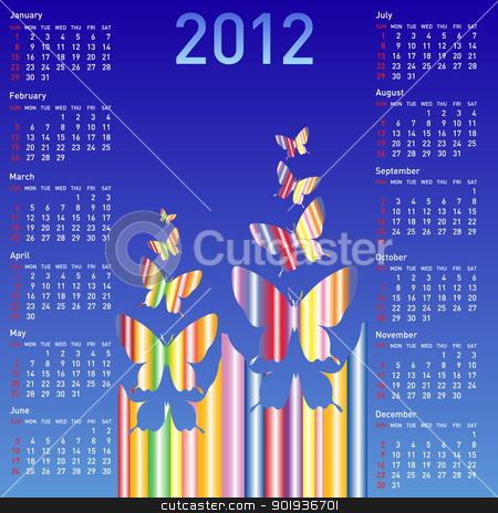 Stylish calendar with  butterflies for 2012. Week starts on Sund stock photo, Stylish calendar with  butterflies for 2012. Week starts on Sunday. by aarrows