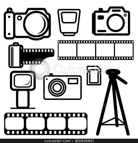 A set of digital cameras stock photo, A set of digital cameras, tripod, film, flash. by aarrows