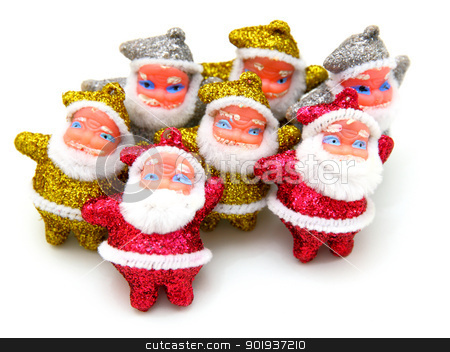 Some dolls of Santa Claus are together  stock photo, Some dolls of Santa Claus are together isolated on a white background by aarrows