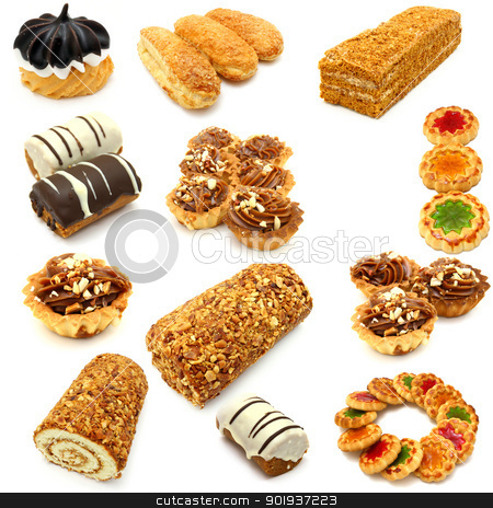 Set of cookies  stock photo, Set of cookies of the various form on a white background by aarrows