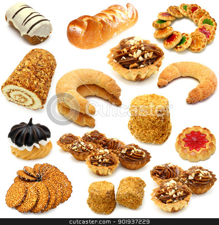 Set of cookies of the various form on a white background stock photo, Set of cookies of the various form on a white background by aarrows