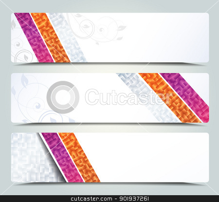 banners stock vector clipart, Vector set of three header designs, banners by Miroslava Hlavacova