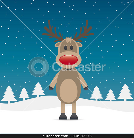reindeer red nose snow falls night stock photo, rudolph reindeer red nose snow falls night by d3images