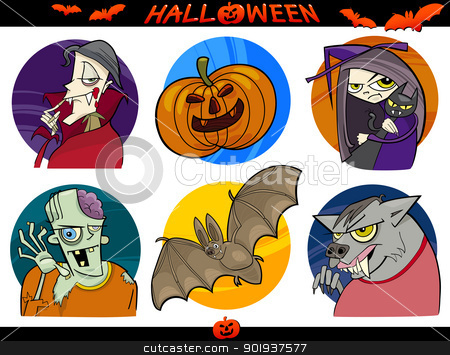 Halloween Cartoon Themes Set stock vector clipart, Cartoon Illustration of Halloween Themes, Vampire, Zombie, Witch, Werewolf, Pumpkin and Bat Funny Set by Igor Zakowski