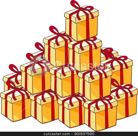 heap of christmas presents stock vector clipart, Cartoon Illustration of Heap of Many Christmas Presents or Gifts by Igor Zakowski