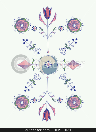 Stylized tulip design stock vector clipart, Tulip design, hand drawn sketch by Richard Laschon