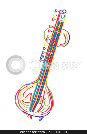 Sitar stock vector clipart, Stylized sitar instrument against white background by Richard Laschon
