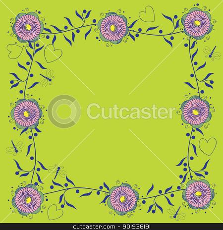 Стилизованные цветочные границы Векторный клипарт ID 3390787.