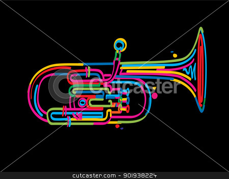 Alto horn stock vector clipart, Stylized alto horn over black background by Richard Laschon