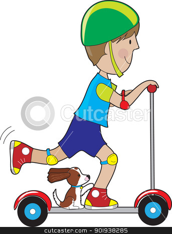 Scooter Boy stock vector clipart, A boy rides his scooter with a pet dog beside his foot, with tail up and ears blowing in the wind. by Maria Bell