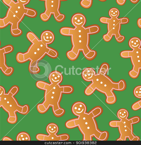 Seamless Gingerbread Men stock vector clipart, A seamless pattern of gingerbread men cookies. by Jamie Slavy
