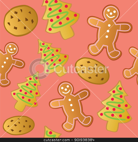 Seamless Holiday Cookies stock vector clipart, A seamless pattern of various types of Christmas Holiday Cookies. by Jamie Slavy