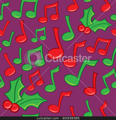Seamless Holiday Music Pattern stock vector clipart, A seamless pattern of music notes and Holly in Christmas or holiday green and red. by Jamie Slavy