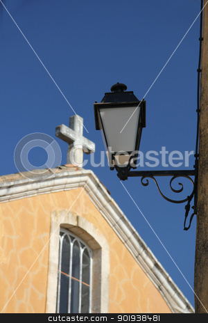 Church of Saint-Michel, Roussillon stock photo, Yellow plastered Church of Saint-Michel, Roussillon by Porto Sabbia