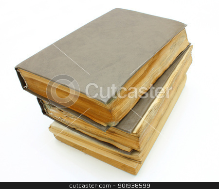Pile from old mouldy books stock photo, Pile from old mouldy books on a white background by aarrows
