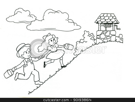 Children running - Vector stock photo, Children the boy and the girl run behind water to a well a vector by aarrows