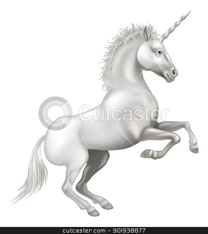 Cartoon Unicorn stock vector clipart, Illustration of a friendly happy smiling cartoon unicorn rearing on its hind legs by Christos Georghiou